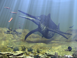 A Massive Shonisaurus Attempts to Make a Meal of a School of Squid-Like Belemnites Photographic Print by  Stocktrek Images