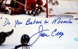 "Jim Craig Autographed ""Do You Believe in Miracles "" 1980 USA Celebration Photo"