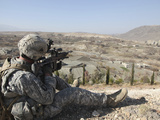 U.S Army Soldier Scans His Sector of Fire with His M14 Rifle in Afghanistan Photographic Print by  Stocktrek Images