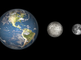 Artist's Concept of the Earth, Mercury, and Earth's Moon to Scale Photographic Print by  Stocktrek Images