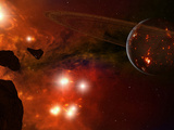 A Young Ringed Planet with Glowing Lava and Asteroids in the Foreground Photographic Print by  Stocktrek Images