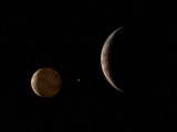 Artist's Concept of Pluto and its Moon Charon Photographic Print by  Stocktrek Images