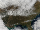Snow Cover Stretching from Northeastern Texas to the Carolinas Photographic Print by  Stocktrek Images