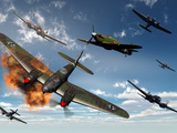 British Hawker Hurricane Aircraft Attack a German Heinkel He 11 Bomber Photographic Print by  Stocktrek Images