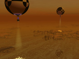 A Pair of Balloon-Borne Probes Leisurely Survey the Surface of Titan Photographic Print by  Stocktrek Images