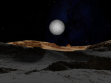 The Surface of Pluto with Charon in the Sky Photographic Print by  Stocktrek Images