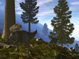 A Pair of Allosaurus Search for a Meal Along a Mountainside Forest Photographic Print by  Stocktrek Images