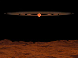 A View across a Hypothetical Barren Alien Planet Towards a Brown Dwarf in the Sky Photographic Print by  Stocktrek Images