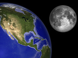 Artist's Concept of the Earth and its Moon Photographic Print by  Stocktrek Images
