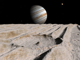 Artist's Concept of an Impact Crater on Jupiter's Moon Ganymede, with Jupiter on the Horizon Photographic Print by  Stocktrek Images