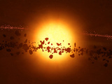A Young Star Circled by Debris Photographic Print by  Stocktrek Images