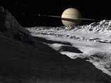 Saturn's Moon, Tethys, Is Split by an Enormous Valley Called Ithaca Chasma Photographie par  Stocktrek Images