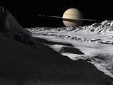 Saturn's Moon, Tethys, Is Split by an Enormous Valley Called Ithaca Chasma Fotografie-Druck von  Stocktrek Images