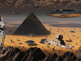 Pyramids and Sphinx Appear on Many Planets in the known Galaxy Photographic Print by  Stocktrek Images