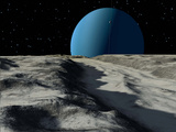 Uranus Seen from the Surface of its Moon, Ariel Papier Photo par  Stocktrek Images