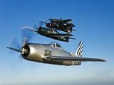 Two Grumman F8F Bearcats and Two F7F Tigercats Fly in Formation Photographic Print by  Stocktrek Images