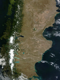 Satellite View of the Patagonia Region in South America Photographic Print by  Stocktrek Images