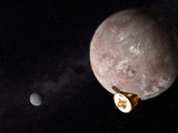 Artist's Concept of the New Horizons Spacecraft Flying Past Pluto and Charon Photographic Print by  Stocktrek Images