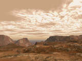 Artist's Concept from Atop Olympus Mons on the Planet Mars Photographic Print by  Stocktrek Images