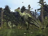 A Lambeosaurus Rears onto its Hind Legs in Response to a Threat Stampa fotografica di Stocktrek Images,