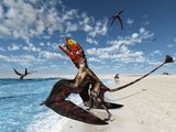Winged Dimorphodon Pluck Fish from the Early-Jurassic Tethys Ocean Photographic Print by  Stocktrek Images