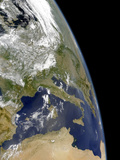 View of the Western Mediterranean with Visible Smoke in the Balkans and Dust from the Sahara Desert Photographic Print by  Stocktrek Images