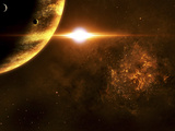 A Star Going Critical Illuminates a Nearby Planet and Nebula