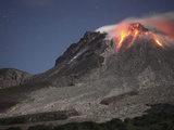 Glowing Lava Dome During Eruption of Soufriere Hills Volcano, Montserrat, Caribbean Photographic Print by  Stocktrek Images