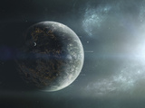Fleet of Colonization Ships Departing an Earth-Like Planet Stampa fotografica di Stocktrek Images,