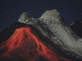 Eruption of Natrocarbonatite Lava Flows from Hornito at Ol Doinyo Lengai Volcano, Tanzania, Africa Photographic Print by  Stocktrek Images