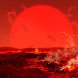 The Sun Seen from a Molten Earth 3 Billion Years from Now Photographic Print by  Stocktrek Images