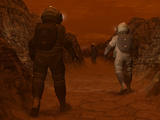 Artist's Concept of Astronauts Exploring a Dry Gully on Saturn's Moon Titan Photographic Print by  Stocktrek Images