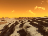 Illustration of Terraced Terrain Surrounding the North Pole of Mars Photographic Print by  Stocktrek Images