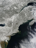 Satellite View of Snow in the Northeastern United States Photographic Print by  Stocktrek Images