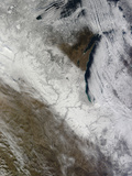 Satellite View of Snow and Cold across the Midwestern United States Photographic Print by  Stocktrek Images