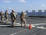 Military Policemen Train with the Berretta M9 9mm Pistol Aboard USS San Antonio Photographic Print by  Stocktrek Images
