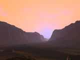Illustration of a Martian Sunrise from Within a Deep Canyon Photographic Print by  Stocktrek Images