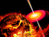 End of the World: the Earth Destroyed by a Black Hole Photographic Print by  Stocktrek Images