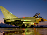 An Italian Air Force Eurofighter Typhoon at Night on Decimomannu Air Base, Italy Photographic Print by  Stocktrek Images
