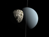 Artist's Concept of How Uranus and its Tiny Moon Puck Photographic Print by  Stocktrek Images