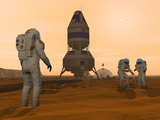 Illustration of Astronauts Setting Up a Base on the Martian Surface around their Lander Vehicle Photographic Print by  Stocktrek Images
