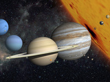 The Planets and Larger Moons to Scale with the Sun Photographie par  Stocktrek Images