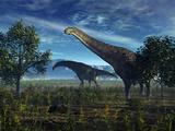 Isisaurus Dinosaurs Wander Lush Plains Photographic Print by  Stocktrek Images