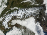 Satellite Image of the Alps Mountain Range Photographic Print by  Stocktrek Images