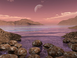 Artist's Concept of Archean Stromatolites on the Shore of an Ancient Sea Lámina fotográfica por Stocktrek Images