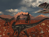 A Pack of Allosaurus Dinosaurs Track Down a Pair of Stegosaurus Photographie par  Stocktrek Images