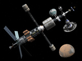 A Manned Mars Cycler Space Station Approaches the Planet Mars Photographic Print by  Stocktrek Images