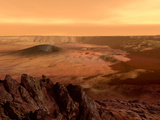 The View from the Rim of the Caldera of Olympus Mons on Mars Fotografiskt tryck av Stocktrek Images,