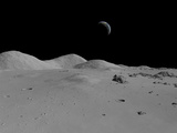 Artist's Concept of a View across the Surface of the Moon Towards Earth in the Distance Photographic Print by  Stocktrek Images
