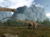 Diplodocus Dinosaurs Graze While Pterodactyls Fly Overhead Photographie par  Stocktrek Images